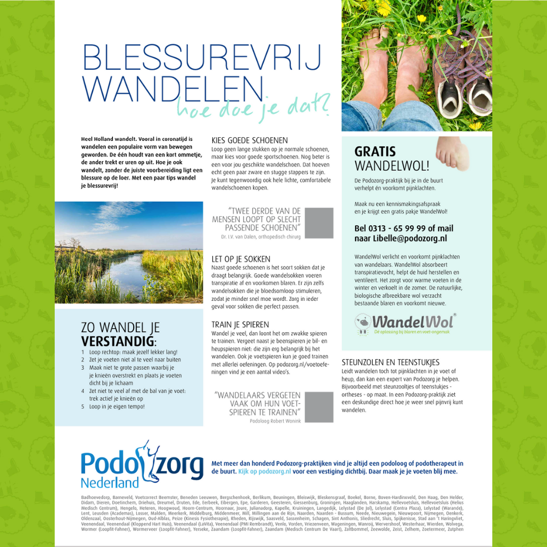 podozorg Nederland wandelwol blessurevrij wandelen actie
